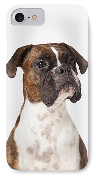 Portrait Of Boxer Dog On White Phone Case by LJM Photo
