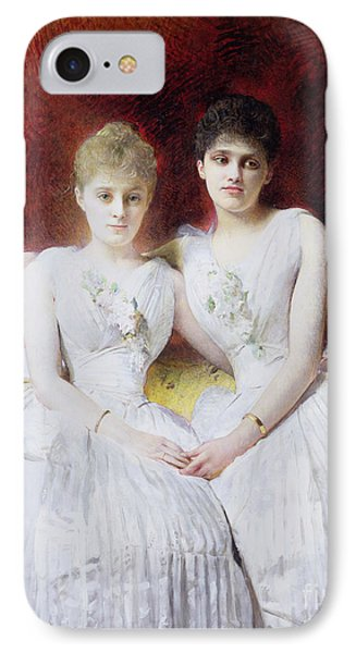 Portrait Of Marthe And Terese Galoppe Phone Case by Leon Joseph Bonnat