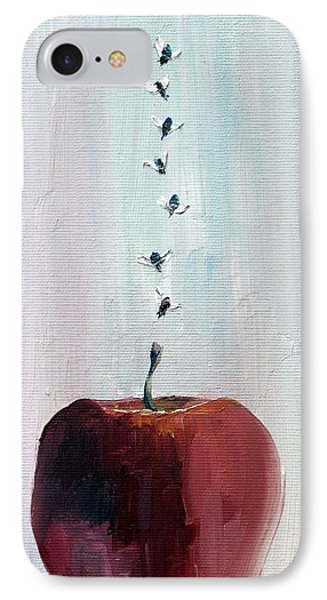 Portrait Of Seven Flies Flying Over An Apple Phone Case by Fabrizio Cassetta