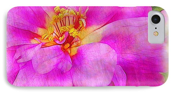 Portulaca With Texture Phone Case by Judi Bagwell