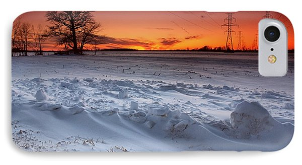 Powerlines In Winter IPhone Case by Cale Best