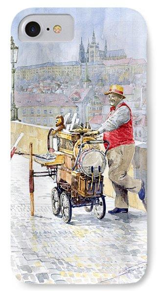Prague Charles Bridge Organ Grinder-seller Happiness  IPhone Case by Yuriy  Shevchuk