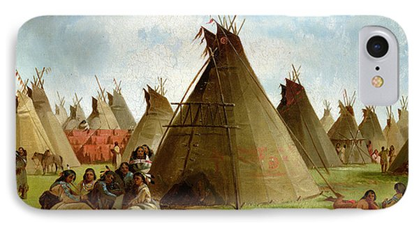 Prairie Indian Encampment IPhone Case by John Mix Stanley