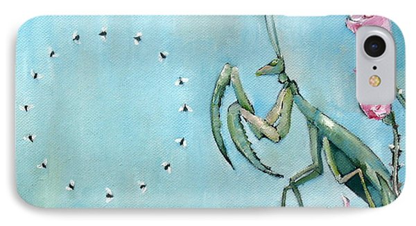 Praying Mantis And Flies In Circle Phone Case by Fabrizio Cassetta