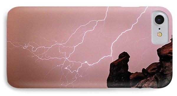 Praying Monk Camelback Mountain Lightning Monsoon Storm Image Phone Case by James BO  Insogna