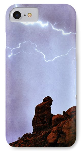 Praying Monk Camelback Mountain Paradise Valley Lightning  Storm Phone Case by James BO  Insogna