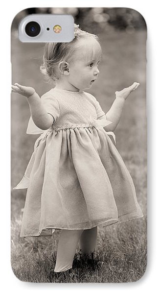Precious Vintage Girl In Dress IPhone Case by Tracie Kaska