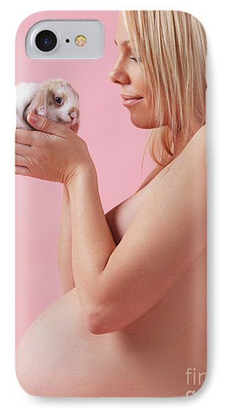 Pregant Young Woman Holding A Bunny In Her Hands Phone Case by Oleksiy Maksymenko
