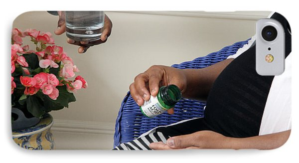 Pregnant Woman Taking Folic Acid IPhone Case by Photo Researchers