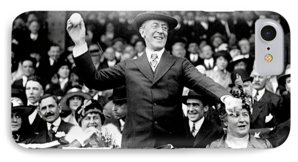President Woodrow Wilson Throws Throws The First Pitch On Opening Day - C 1916 Phone Case by International  Images