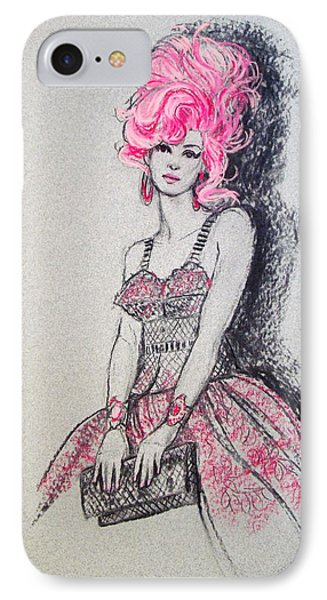 IPhone Case featuring the drawing Pretty In Pink Hair by Sue Halstenberg