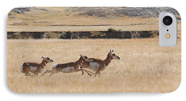IPhone Case featuring the photograph Pronghorn Antelopes On The Run by Art Whitton