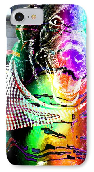 Psychedelic Black Lab With Kerchief Phone Case by Barbara Griffin