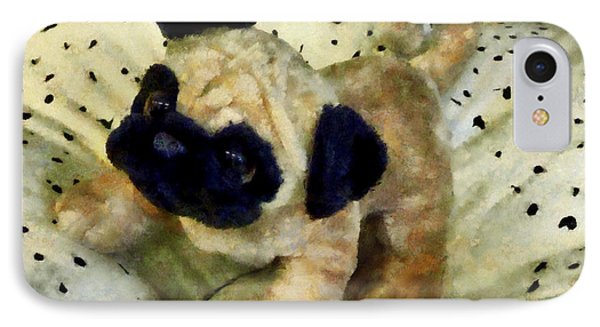 Pug On Pillow Phone Case by Susan Savad