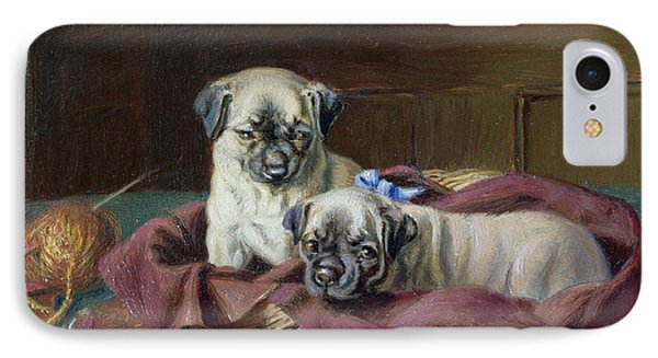 Pug Puppies In A Basket Phone Case by  Horatio Henry Couldery