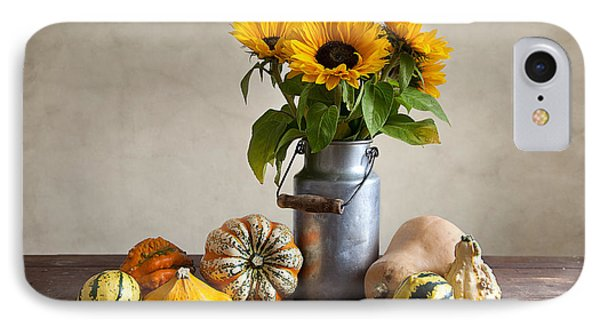 Pumpkins And Sunflowers IPhone Case by Nailia Schwarz
