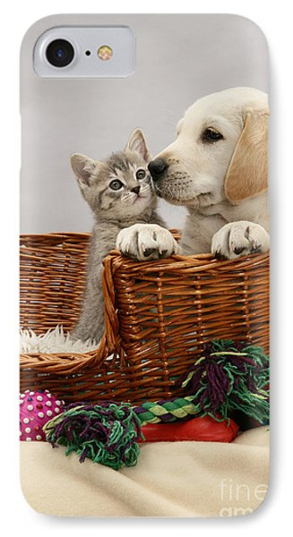Pup And Kitten In Basket IPhone Case by Jane Burton