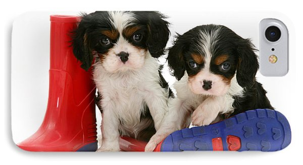 Puppies With Rain Boats Phone Case by Jane Burton