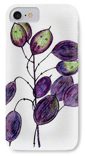 IPhone Case featuring the drawing Purple Honesty Seed Heads by Barbara Moignard