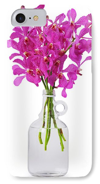 Purple Orchid In Bottle Phone Case by Atiketta Sangasaeng
