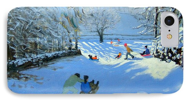 Pushing The Sledge IPhone Case by Andrew Macara