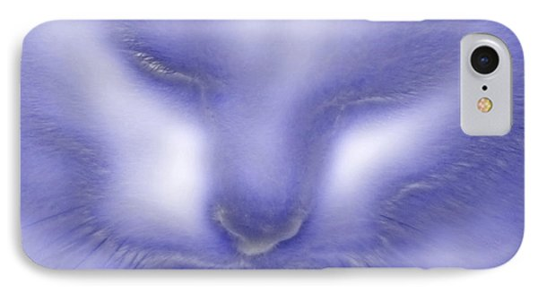Digital Puss In Blue IPhone Case by Linsey Williams