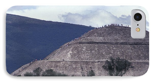 IPhone Case featuring the photograph Pyramid Climbers Teotihuacan Mexico by John  Mitchell