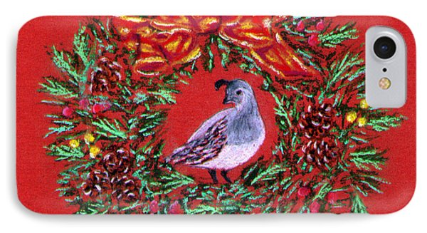 IPhone Case featuring the painting Quail Holiday Greeting Card by Judy Filarecki