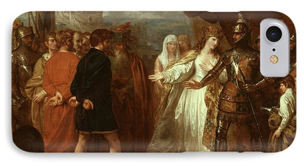 Queen Philippa Interceding For The Lives Of The Burghers Of Calais Phone Case by Benjamin West