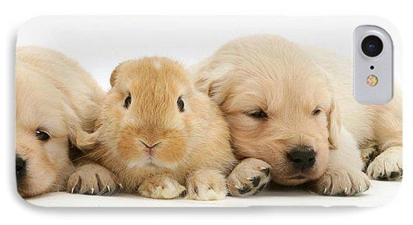 Rabbit And Puppies Phone Case by Jane Burton