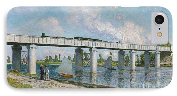 Railway Bridge At Argenteuil Phone Case by Claude Monet