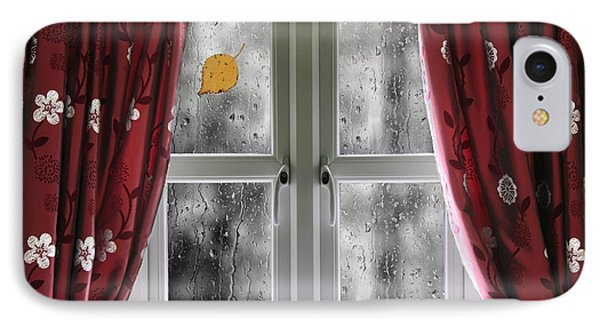 Rain On A Window With Curtains IPhone Case by Simon Bratt Photography LRPS