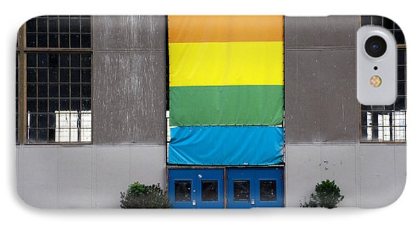IPhone Case featuring the photograph Rainbow Banner Building by Kathleen Grace