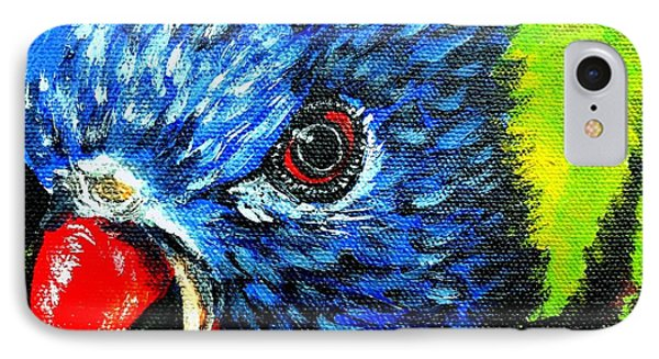 IPhone Case featuring the painting Rainbow Lorikeet Look by Julie Brugh Riffey
