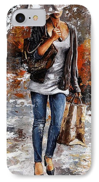 Rainy Day - Woman Of New York 06 IPhone Case by Emerico Imre Toth