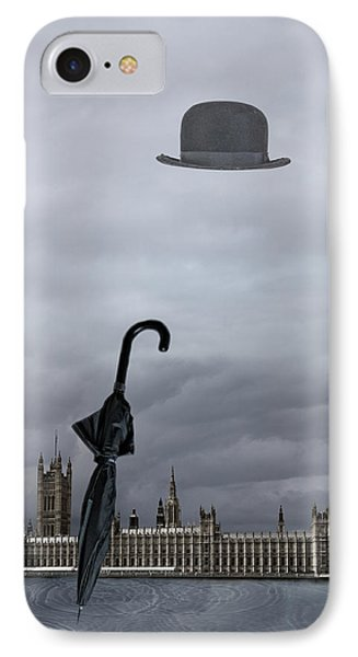 Rainy Day In London  IPhone Case by Angel Jesus De la Fuente