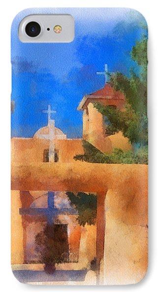 Ranchos Church Gate - Aquarell Phone Case by Charles Muhle