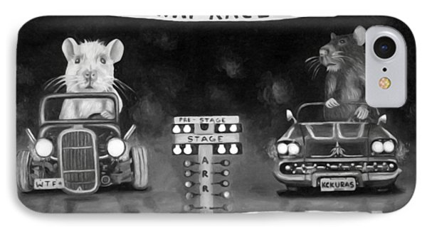 Rat Race Black And Wht Darker Tones Phone Case by Leah Saulnier The Painting Maniac