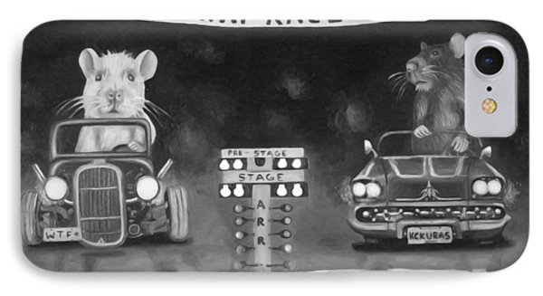 Rat Race In Black And White Phone Case by Leah Saulnier The Painting Maniac