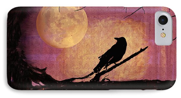 Raven And The October Moon Phone Case by Arline Wagner