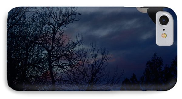 Raven In The Full Moon Abstract IPhone Case by Marjorie Imbeau