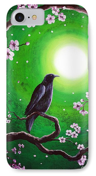 Raven On A Spring Night IPhone Case by Laura Iverson