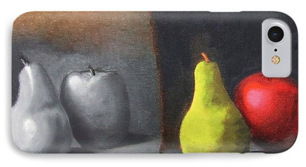 Red Apple Pears And Pepper In Color And Monochrome Black White Oil Food Kitchen Restaurant Chef Art IPhone Case