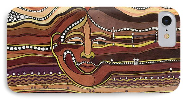 Red Aztec Face In Nature Landscape Abstract Fantasy With Earth Colors Sunset And Skyline IPhone Case