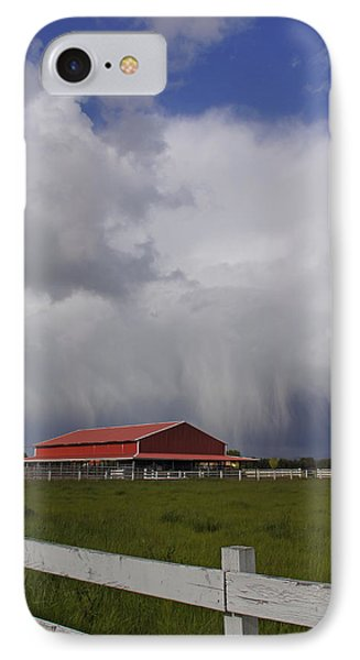 Red Barn And Stormy Sky Phone Case by Mick Anderson