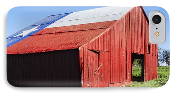 Red Barn In Field With Texas Flag On Roof IPhone Case by Jeremy Woodhouse
