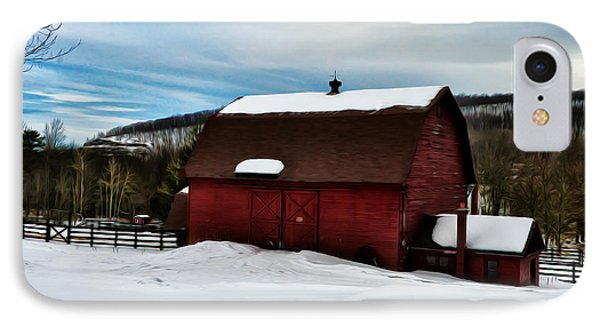 Red Barn In The Snow Phone Case by Bill Cannon