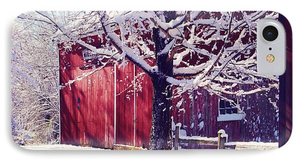 Red Barn In The Winter Connecticut Usa Phone Case by Sabine Jacobs
