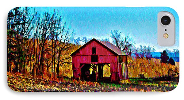 Red Barn On A Hillside Phone Case by Bill Cannon