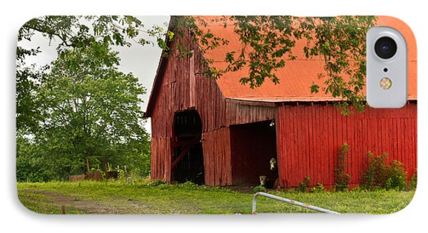 Red Barn With Orange Roof 1 IPhone Case by Douglas Barnett
